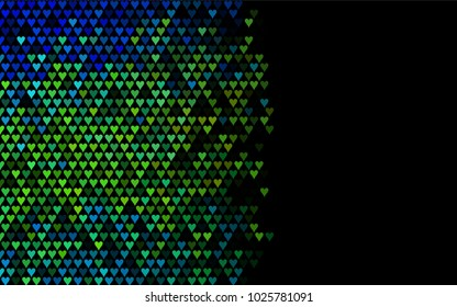 Dark Blue, Yellow vector abstract small hearts on white background. Template for valentine day with sweet, romantic concept. Amazing pattern for your design, banner, leaflet.