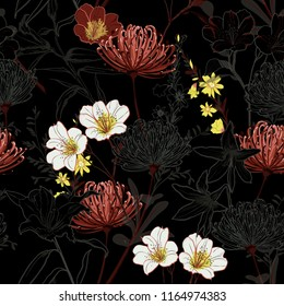 Dark botanical blooming garden flowers unfinished line drawing seamless pattern vector design for fashion,fabric,wallpaper,and all prints on black background color