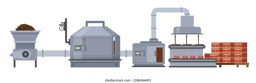 Dark brown chocolate factory. Sweet production on the automated machinery line. Isolated vector flat illustration