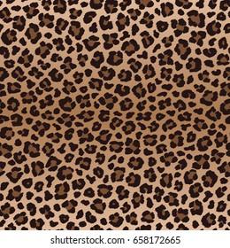 Dark brown irregular leopard seamless pattern, vector