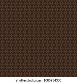 Dark brown textured rug woven fabric seamless pattern, vector
