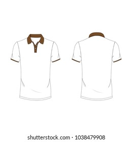 Dark brown and white polo T-shirt template using for fashion cloth design and assessorie for designer to make mock up or blue print in copany.