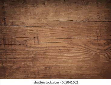 Dark brown wooden wall, table, floor surface. Aged board. Vector wood texture.