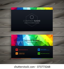 dark business card with abstract colors