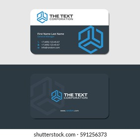 dark business card, design template with blue hexagonal logotype, IT industry