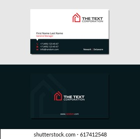 dark business card for real estate agency with red logo of house
