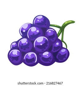 Dark cartoon grape, isolated on white