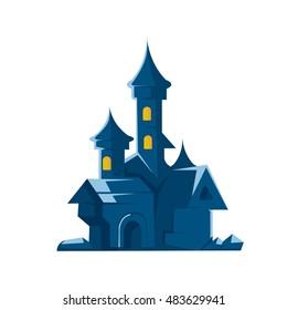 Dark castle of vampires. Vector illustration isolate on white background