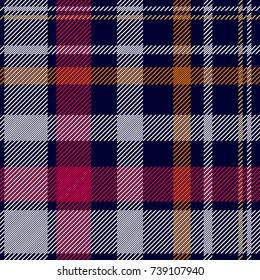 Dark checkered print. Seamless vector pattern with checkers and stripes. Hipster fashion collection. Textile design for shirts, dresses, plaids, napkins, tablecloth. White, blue, red, beige.