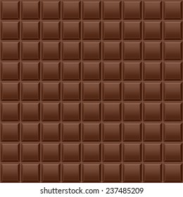 Dark chocolate bar as background. Seamless pattern. Vector illustration