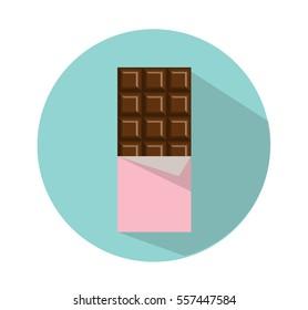 Dark chocolate bar icon. Minimal flat style. Sweet illustration. Isolated on a blue background. Vector.