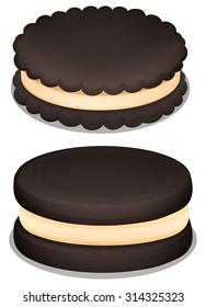 Dark chocolate cookie and cream illustration