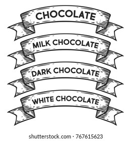 dark chocolate, milk white chocolate badge emblem ribbon. Monochrome set vintage engraving sign isolated. Sketch hand drawn illustration retro style.