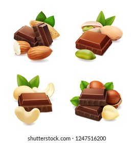 Dark chocolate with nuts realistic set isolated vector illustration