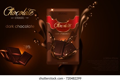 Dark chocolate on brown background with dynamic liquid chocolate and pieces of chocolate, 3d realistic vector illustration.