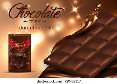 Dark chocolate on light brown background with sparkles elements and chocolate liquid, 3d vector illustration.