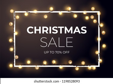 Dark Christmas sale design with glowing golden stars and light bulb garlands. Vector illustration.