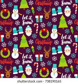 Dark Christmas Seamless Pattern. Vector Illustration. Winter Holiday Background.