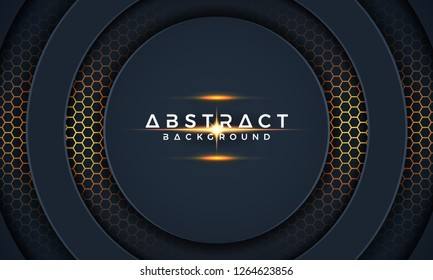 Dark circle paper cut background. Abstract modern 3D texture vector background. 3d backdrop EPS10 Vector.