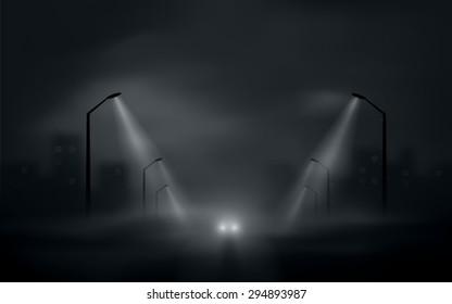 dark city road with car headlights vector