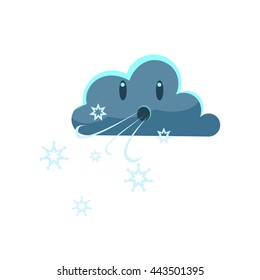Dark Cloud Blowing Cold WindCute Childish Style Bright Color Design Icon Isolated On White Background