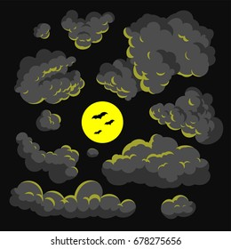 Dark cloud cartoon style vector illustration background
