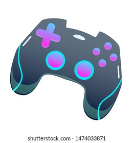 Dark color gamepad, flat vector joypad, modern design isolated illustration with pink and blue colors