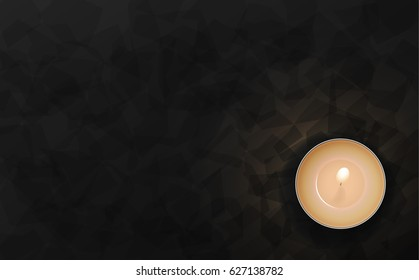Dark color luxury background. Candles on black table top view. Premium horizontal vector illustration design.
