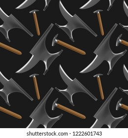 Dark color seamless pattern with blacksmith's and farrier's tools in realistic style. Hammers and anvils. Fine for blacksmith's and farrier's shop banners, catalogues and horsemanship sites and books.