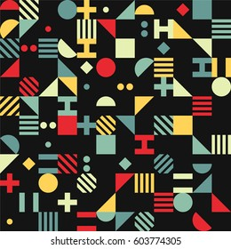 Dark colored geometrical pattern with simple shapes. Design for cards, textile, background.
