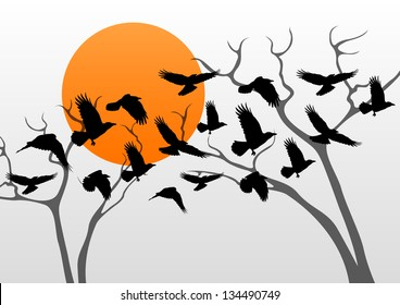 Dark crows pack flying over scary halloween night moon lighted countryside trees landscape illustration background vector