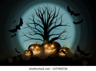 Dark Cute halloween pumpkins and big tree. vector illustration.