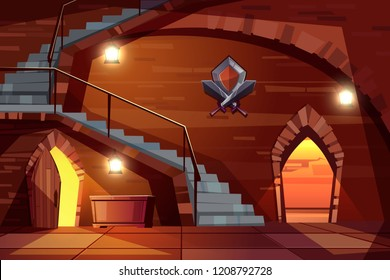Dark dungeon of medieval castle with walls of stone, long staircase, wooden doors and treasure chest cartoon vector illustration. Royal crypt, ancient underground casemate, prison or fairy labyrinth