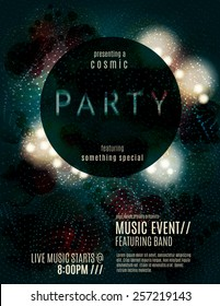 Dark eclipse party invitation poster or flyer template design with glowing glitter effects