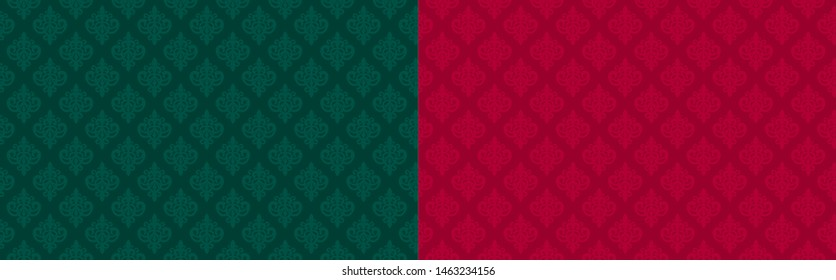 Dark emerald green and red ( marsala, burgundy, maroon) seamless damask pattern. Premium royal party. Luxury template backdrop for king, little prince, princess, queen birthday celebration. Xmas color
