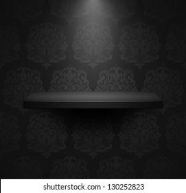 Dark empty isolated shelf on beautiful black luxury background. Vector illustration.