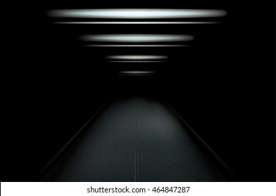 Dark and empty tunnel with dim light. Vector illustration.