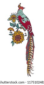 Dark Enchanted Vintage Flowers and Birds vector illustration. Magic forest background.