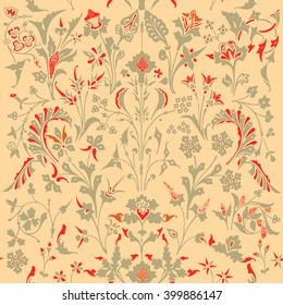 Dark Enchanted Vintage Flowers seamless pattern vector. Magic forest background.