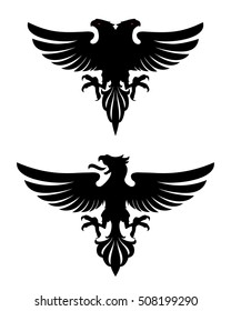 Dark Evil heraldic eagle with spread wings. Mascot, logotype, label.