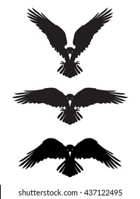 Dark Evil heraldic raven with spread wings. Mascot, logotype, label.