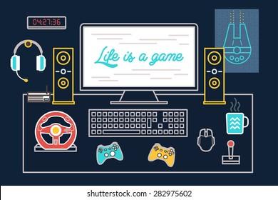 Dark Flat Line Pc Gamer Desk with computer, joystick, speaker, headphone, poster, keyboard, mouse and mug
