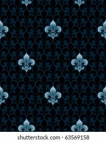 dark fleur-de-lys seamless pattern (vector tileable background)
