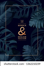 A dark floral background template with palm tree leaves. vector illustration