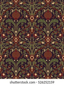 Dark floral pattern. Seamless rich European ornament of the Victorian era. Stylized colorful template for wallpaper, textile, bedspread, curtain, shawl, tile, carpet and any surface.