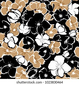 Dark Floral seamless pattern blooming hand drawning flowers Botanical  Seamless vector texture.  for fashion prints. Printing with in hand drawn style on black