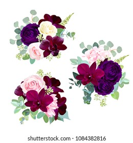 Dark flowers vector design seasonal bouquets. Purple garden rose, burgundy red orchid, pink and yellow rose, hydrangea, seeded eucalyptus, greenery, succulents.All elements are isolated and editable