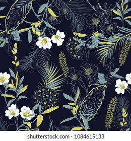 Dark forest blooming garden outline and hand painting flowers many kind of floral in seamless pattern vector illustration on  navy blue background