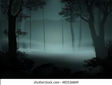 Dark Forest - Cartoon Illustration, Vector