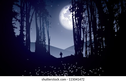dark forest with man walking at moonlight